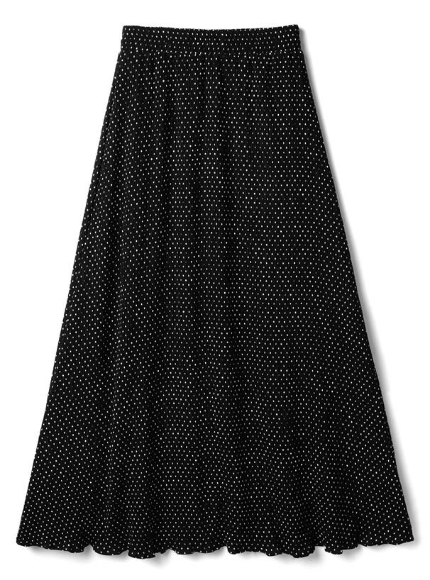 ドット柄フレアロングスカート
