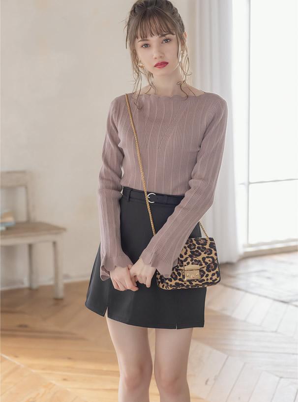 インパン付きベルト付き台形スカート