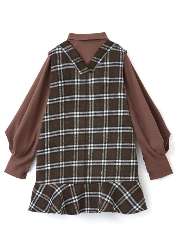 リボンタイボリューム袖ブラウス×チェックワンピースセット