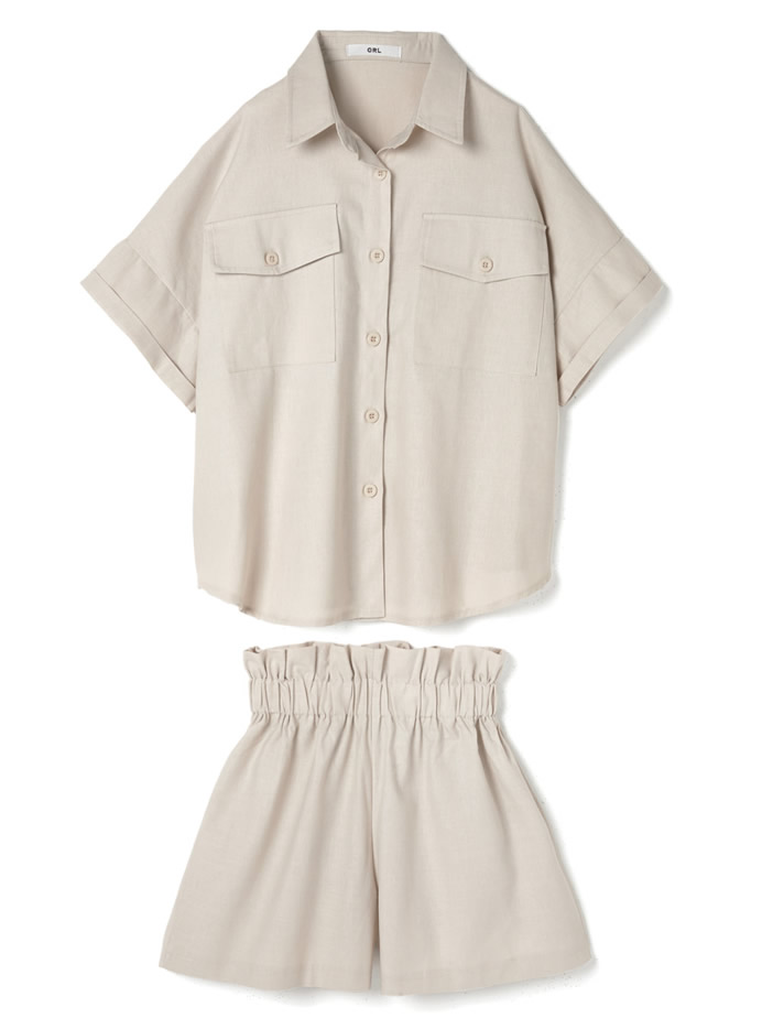 デザインポケットシャツ×パンツセットアップ
