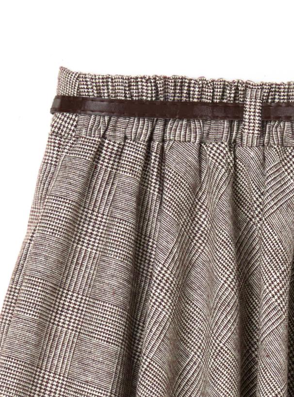 ベルト付きグレンチェックフレアスカート