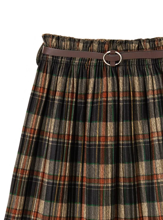 ベルト付きチェックプリーツスカート