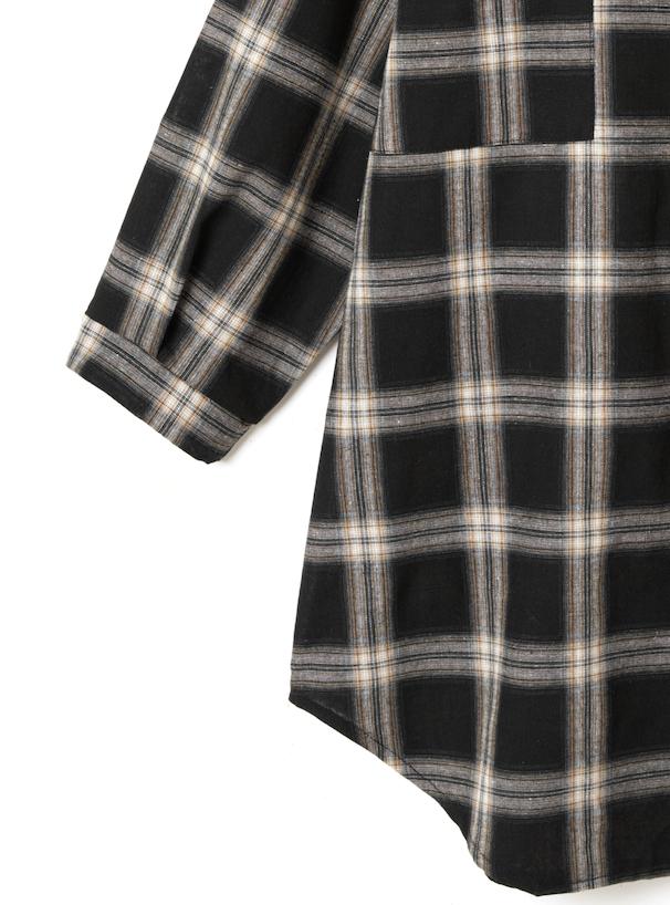 オーバーロングチェックシャツ