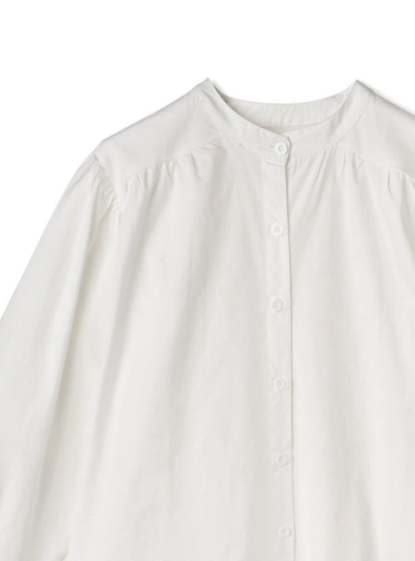 ノーカラーボリュームスリーブシャツ