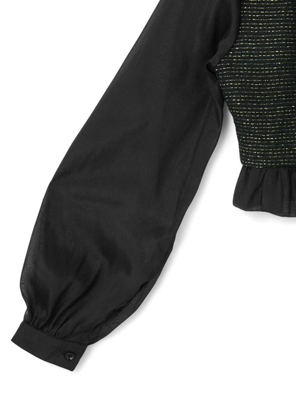 ツイードボウタイフリルブラウスXパール台形ミニスカートセットアップ