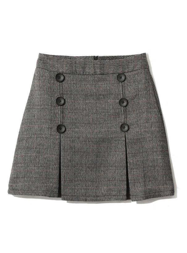 グレンチェックダブルボタンスカート