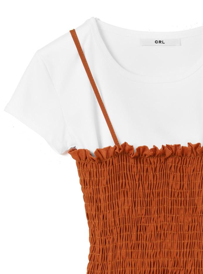 Tシャツ×シャーリングキャミワンピースセットアップ