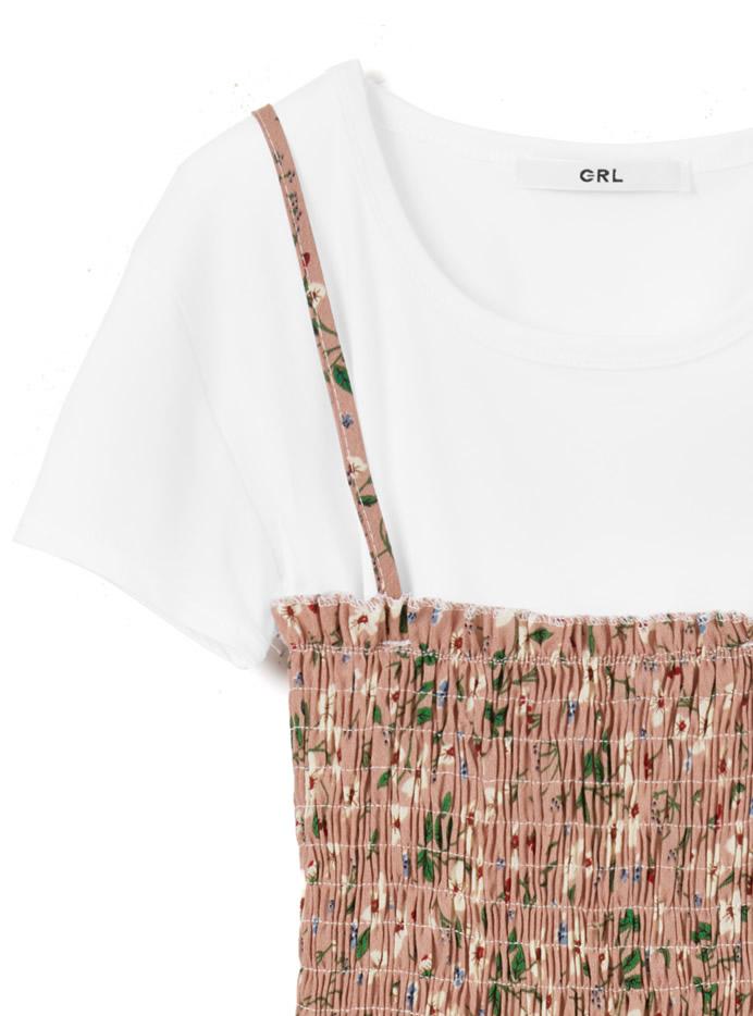 Tシャツ×花柄シャーリングキャミワンピースセットアップ