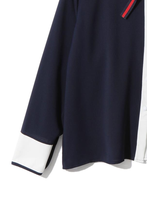 リボンタイ付配色シャツ