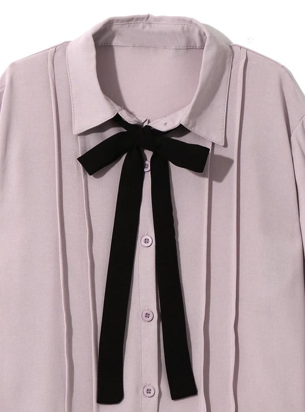 ボウタイリボン付きピンタックシャツ