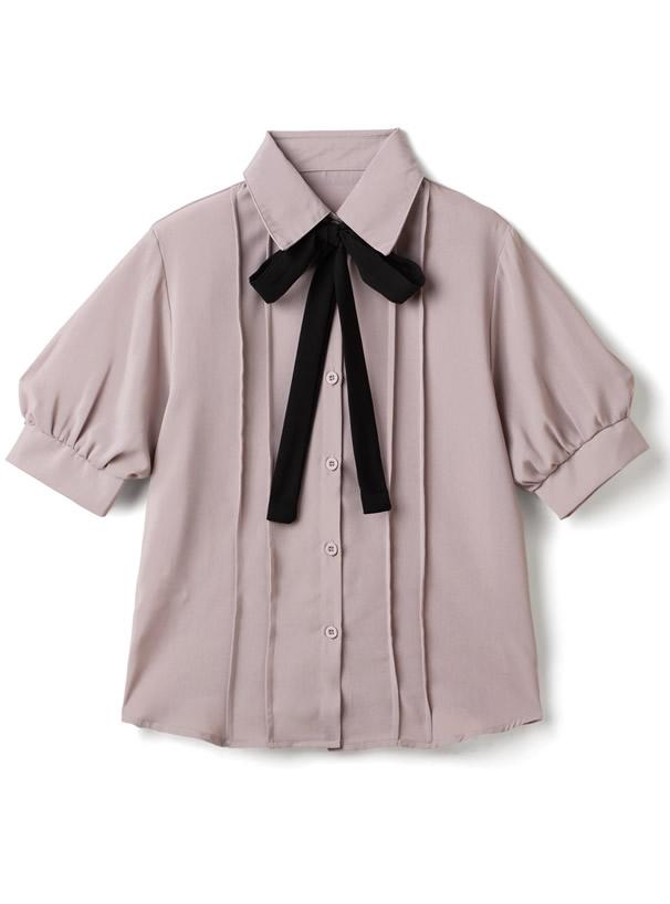 リボンタイ付きピンタックシャツ