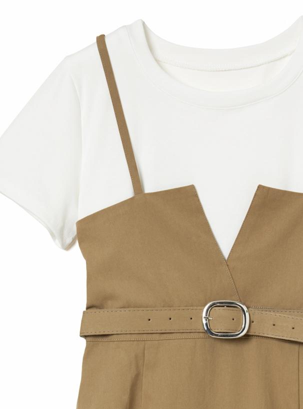 Tシャツ×ベルト付キャミワンピースアンサンブル