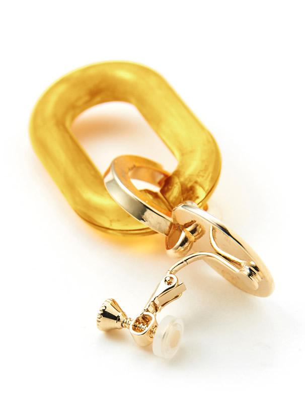 白石麻衣 ゴールドプレートXマーブル柄クリアフープイヤリング