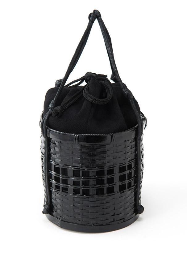 黒巾着付き浴衣カゴバッグ