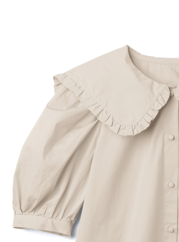 フリルビッグカラー半袖ブラウス