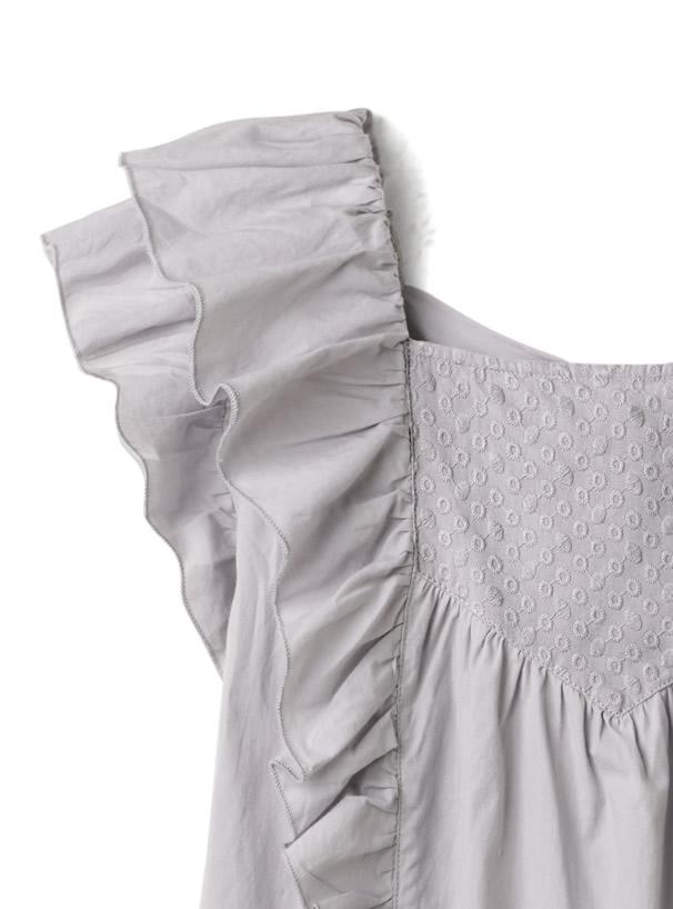 バックリボンドット刺繍フリルシャツ
