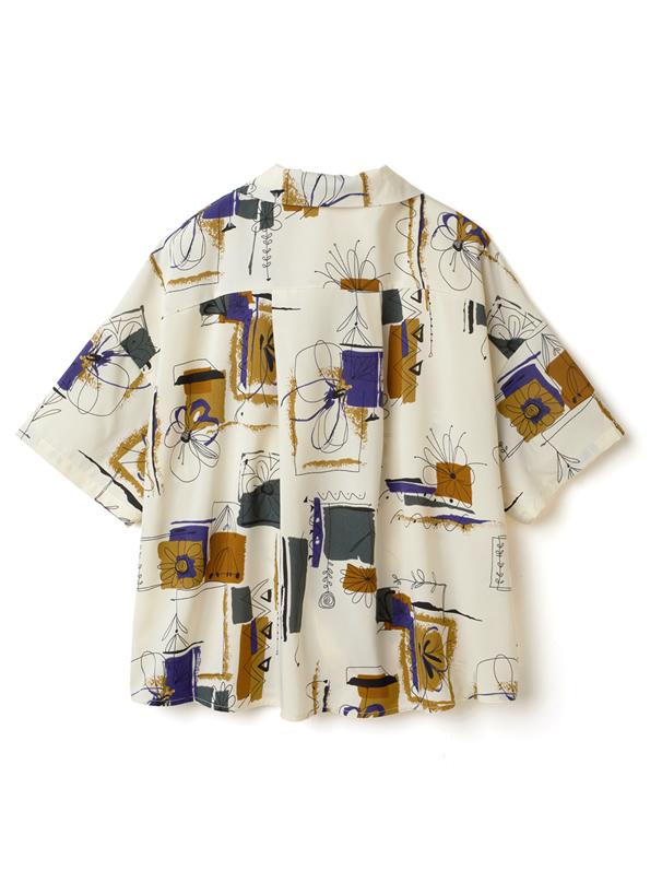 花柄ペイントプリント半袖シャツ