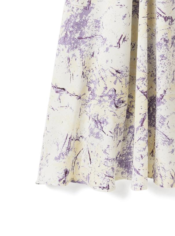 ぼかし柄フレアロングスカート