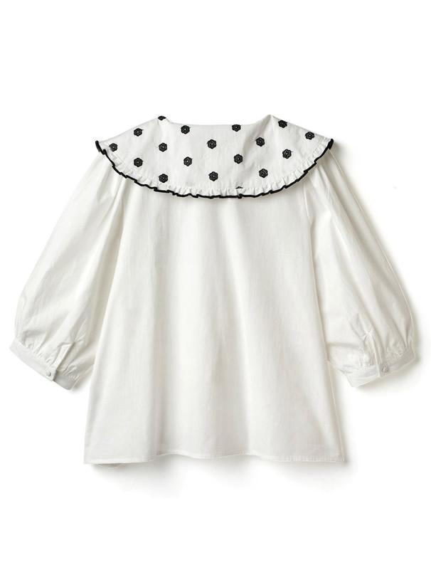 フラワー刺繍ビッグ襟ブラウス