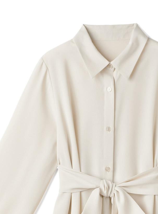 リボン付き2wayバックプリーツシャツ