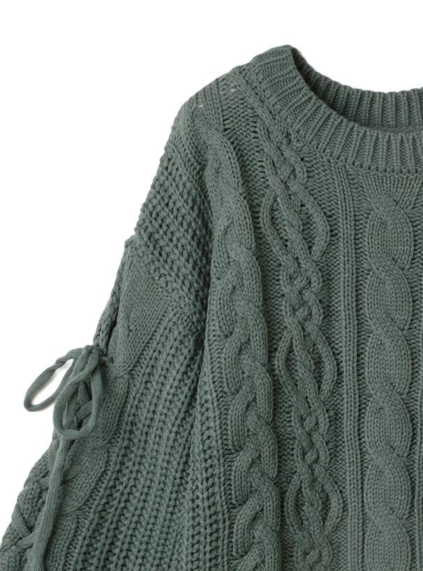 ケーブル編み袖レースアップニットトップス