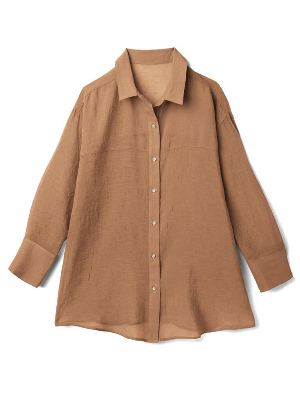しわ加工シアーシャツ