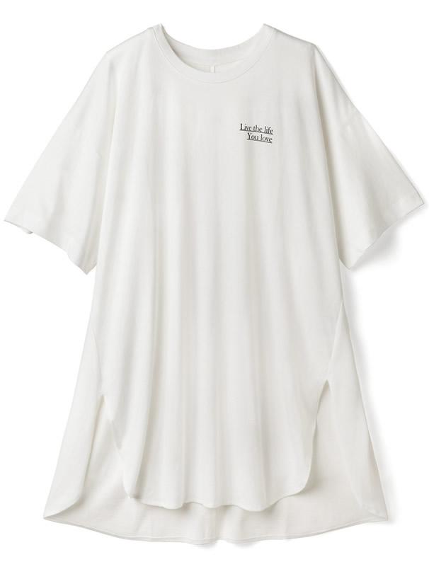 サイドスリットラウンドヘムロングTシャツ