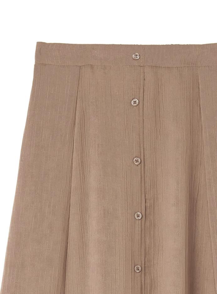 シアーフロントボタンフレアスカート