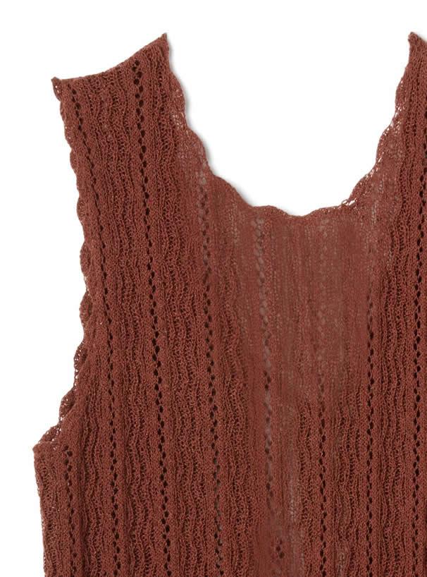 透かし編みバックリボンノースリーブトップス
