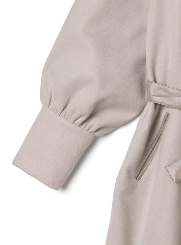 レザーウエストベルト付きシャツジャケット