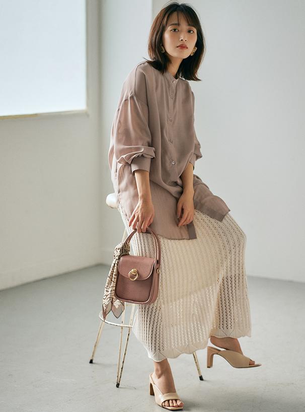 透かし編みニットマーメイドスカート