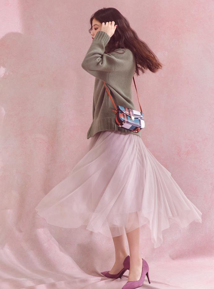 今田美桜 配色デザインショルダーバッグ