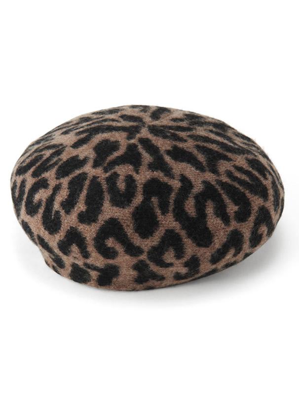 ウールレオパード柄ベレー帽