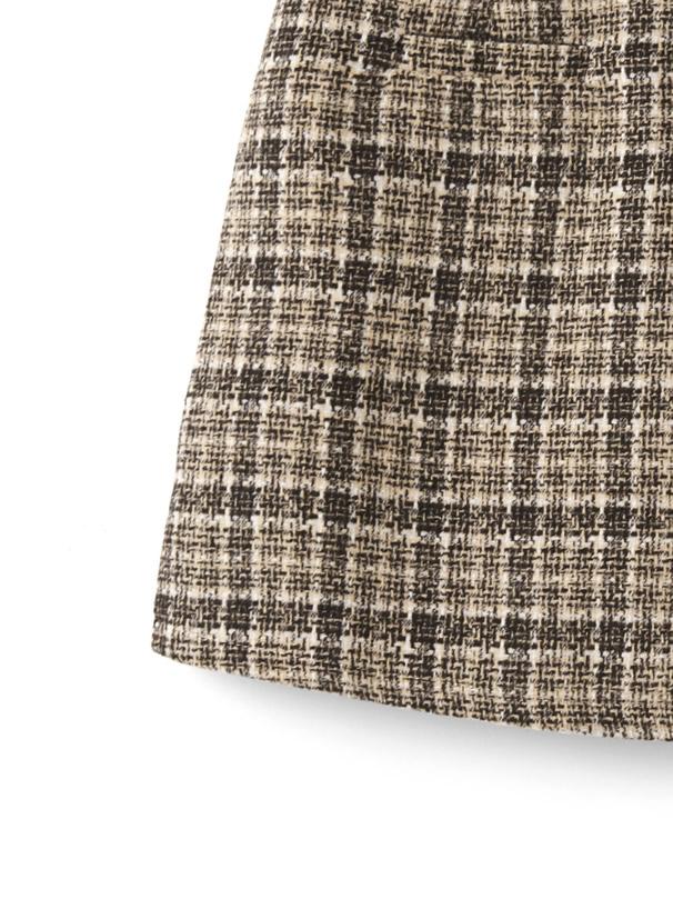 インパン・ベルト付きツイードラップデザインスカート