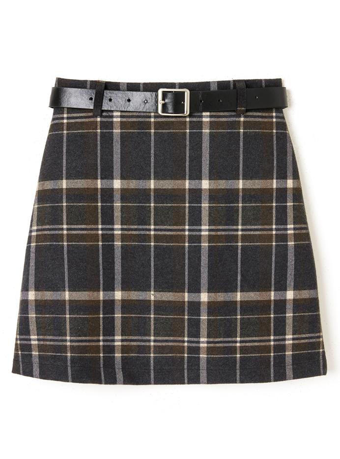 ベルト付きチェック台形スカート