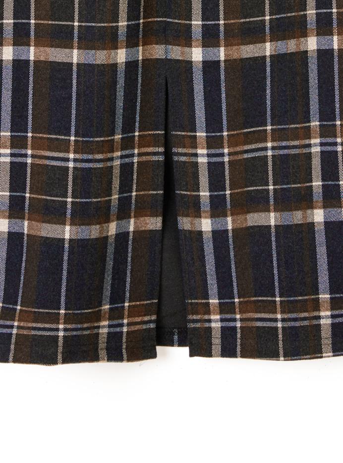ポーチ付きベルトチェックバックスリットタイトスカート