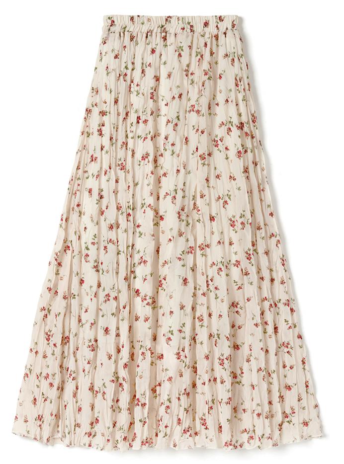 花柄しわ加工スカート