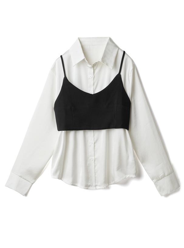 リボン付ビスチェX光沢ロングシャツセット
