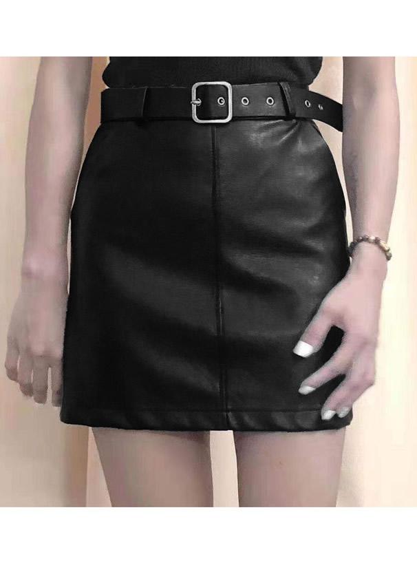 インパン・ベルト付きレザーミニスカート