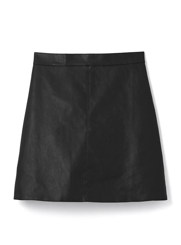 インパン付きレザー台形ミニスカート