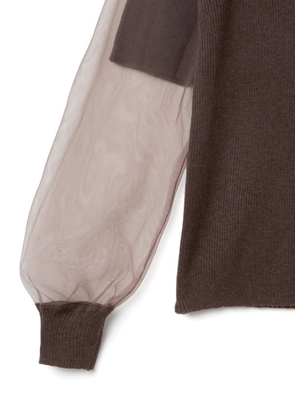 袖チュール重ねリブニットトップス