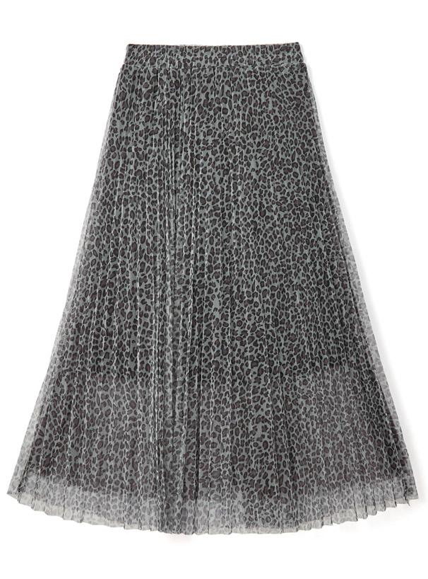 レオパードチュールプリーツスカート