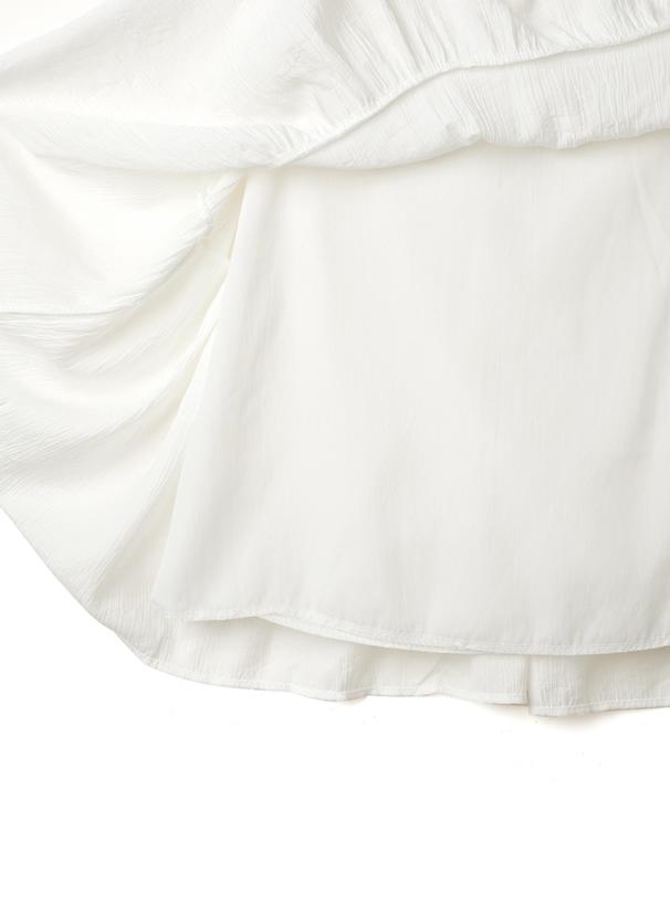 かぎ針編みビスチェXフリルネックシャツワンピース