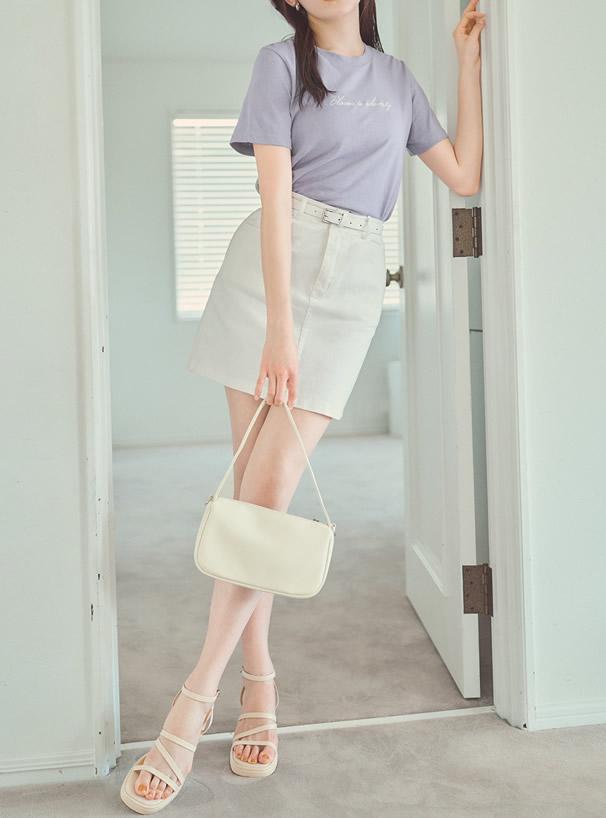 ベルト・インパン裏地付き台形ミニスカート