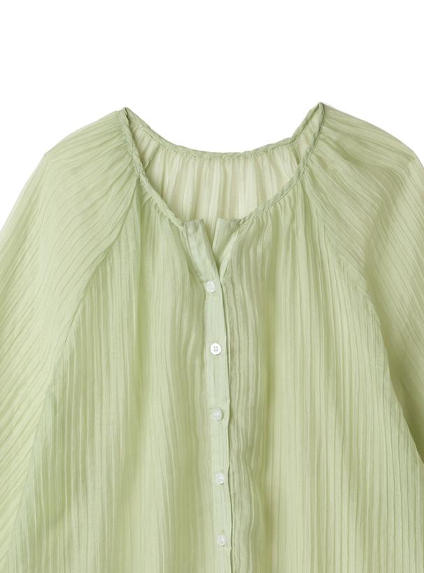 リボンプリーツシアーシャツ