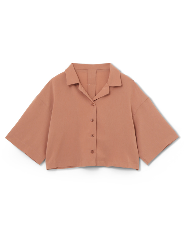ショート丈開襟シャツ