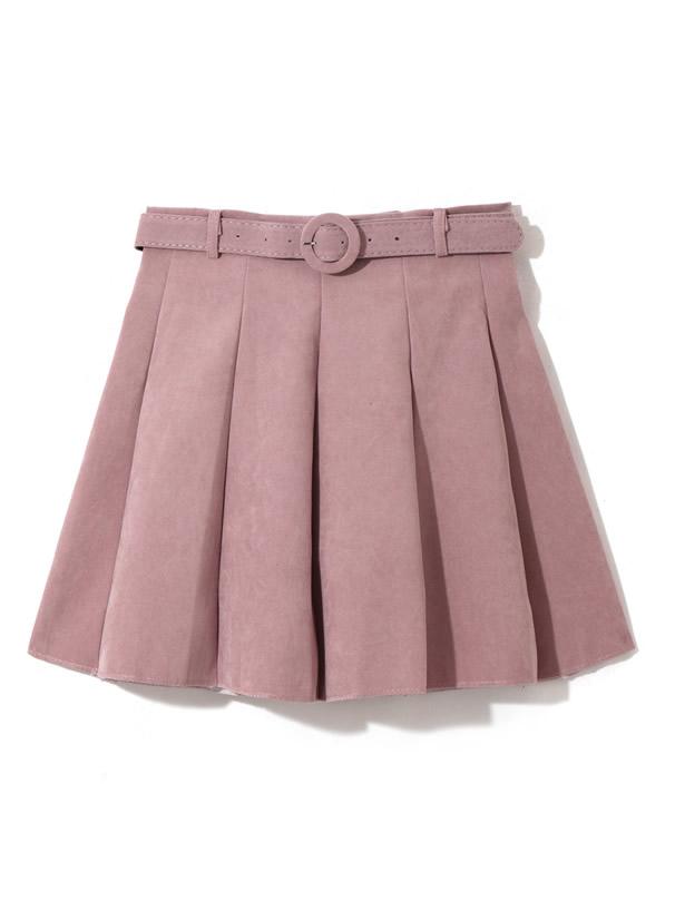 ベルト付きタックフレアスカート