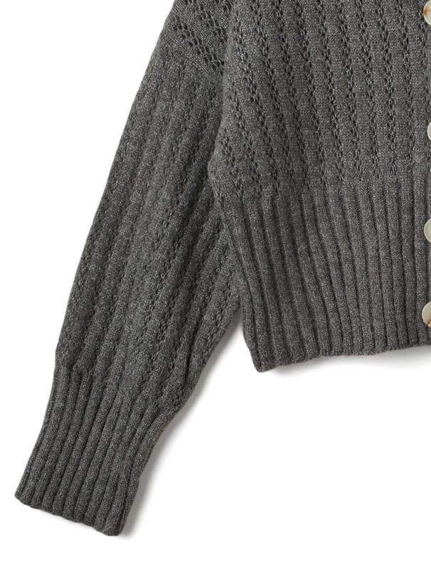 Vネックショート丈透かし編みニットカーディガン