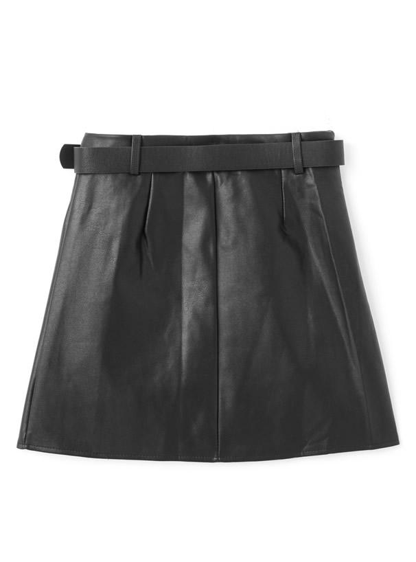 インパン・ベルト付フェイクレザースカート