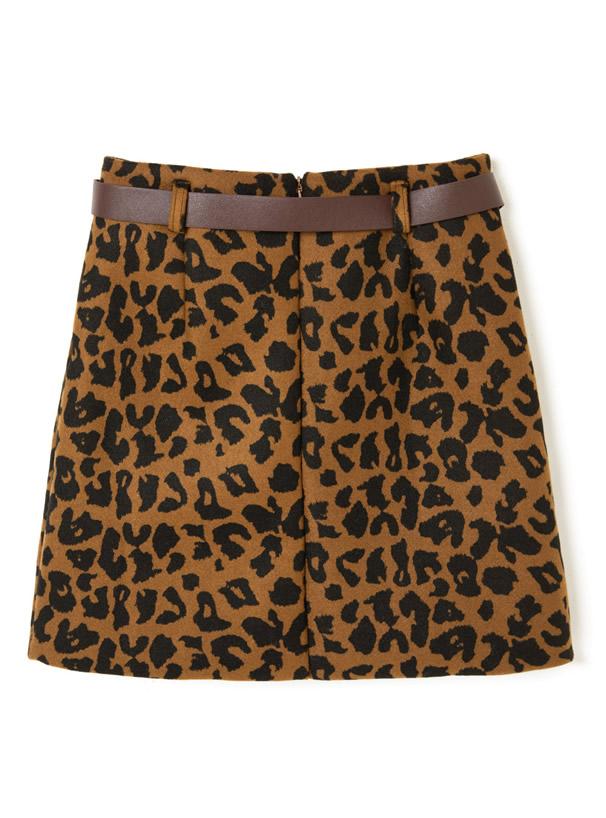 ベルト付きレオパードタイトスカート